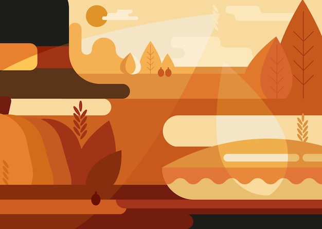 Abstract banner with traditional hat and pie. thanksgiving placard design in flat style.