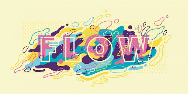Abstract banner  with typography and colorful fluid shapes.