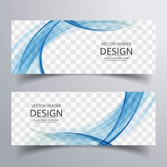 Abstract banner with wavy shapes