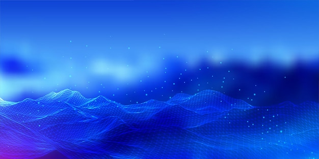 Abstract banner with a wireframe landscape design