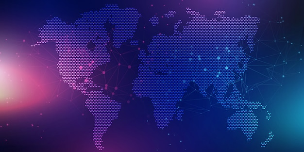 世界地図と抽象的なバナー