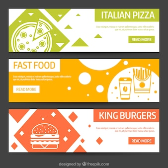 Abstract banners of different types of food