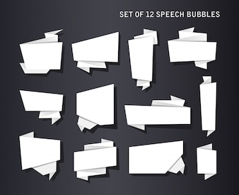 Abstract banners set, folded paper tape, or original voice bubbles