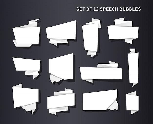 抽象的なバナーセット、折り畳まれた紙テープ、オリジナルのボイスバブル
