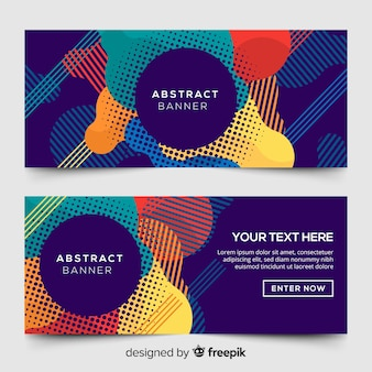 Abstract banners with colorful geometric shapes