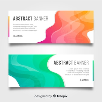 Abstract banners with colorful wavy shapes