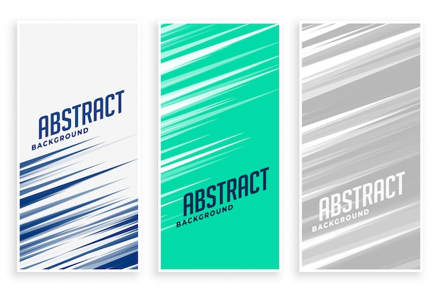 Abstract banners with fast motion lines in three colors