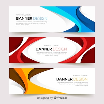 Abstract banners with wavy shapes
