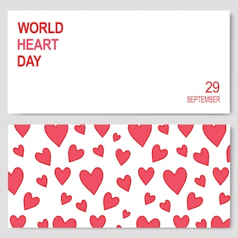 Abstract banners for world heart day 29 september