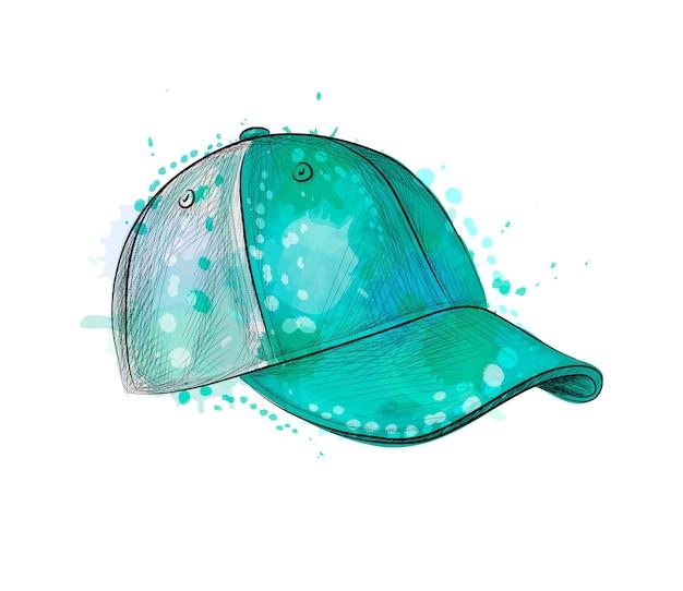 水彩のスプラッシュから抽象的な野球帽、手描きのスケッチ。塗料のイラスト