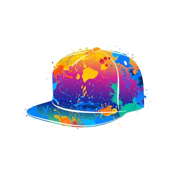 Abstract baseball cap splash of watercolors.  illustration of paints.