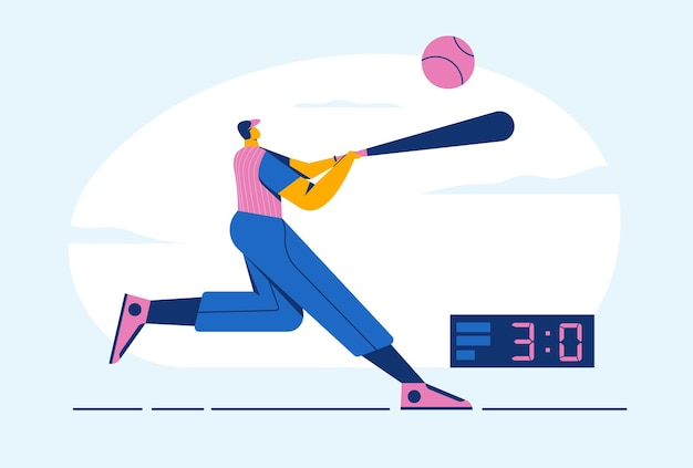 バットでバッターを実行するボールを持つ抽象的な野球選手の男、ボード上の3スコア