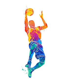 Abstract basketball player with ball from splash of watercolors.  illustration of paints.
