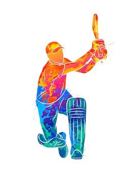 水彩絵の具のスプラッシュからクリケットをする抽象的な打者。塗料のイラスト。