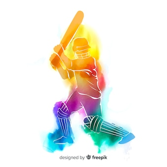 Abstract batsman playing cricket in watercolor style