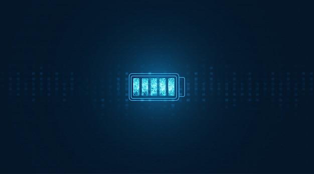 추상 배터리 전기 에너지 및 전원 공급 장치 개념입니다. 디지털 배경에서 배터리 아이콘입니다.