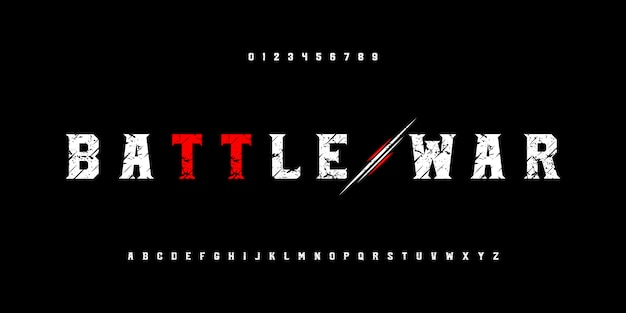 Abstract battle war action alphabet fonts with grunge and slice effect