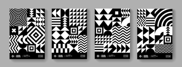 Abstract bauhaus geometric pattern background. black and white swiss design poster collection. minimal monochrome shape elements.