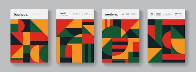 Abstract bauhaus geometric pattern background. colorful swiss design poster collection. minimalistic shape elements.