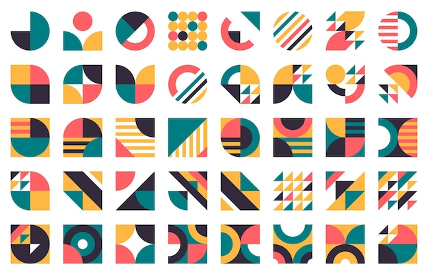 抽象的なバウハウスの形。モダンな円、三角形、正方形、ミニマルスタイルのバウハウスフィギュアセット