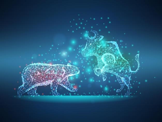 Абстрактный медведь и бык низкополигональная каркасная сетка футуристические технологии фон фондовый рынок тенденция концепции векторные иллюстрации