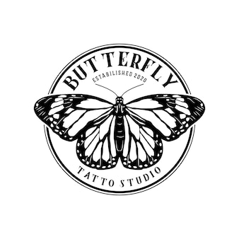 Abstract beautiful butterfly vintage logo design template