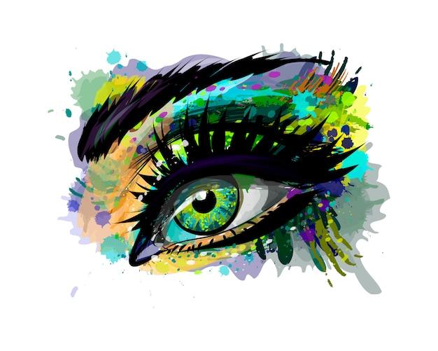 水彩のスプラッシュから抽象的な美しい女性の目、手描きのスケッチ。塗料のベクトルイラスト