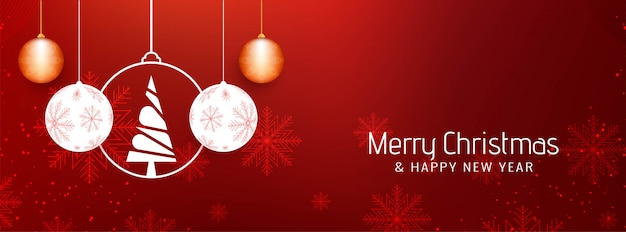 Abstract beautiful merry christmas banner template