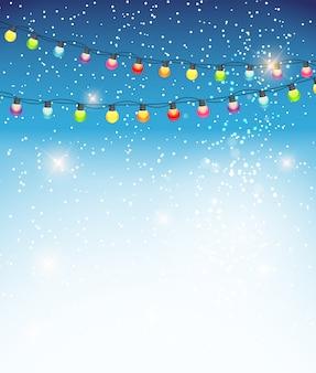 抽象的な美しさのクリスマスと新年の背景にガーランド電球ライト、雪が降る Premiumベクター
