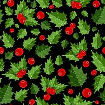 抽象的な美しさのクリスマスベリーのシームレスなパターンの背景。ベクトルイラスト。 eps10