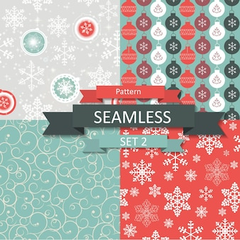 Abstract beauty christmas and new year seamlss pattern set, vector illustration. eps10