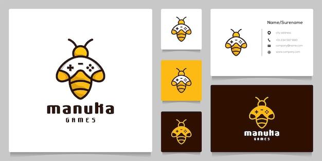 명함이 있는 게임 로고 디자인을 위한 추상 꿀벌 꿀 및 게임 패드 게임