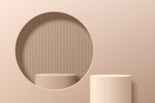 Абстрактный бежевый постамент цилиндра 3d или подиум стойки в окне круга на стене. светло-коричневая современная минималистичная сцена для демонстрации косметической продукции. векторный дизайн платформы геометрической визуализации