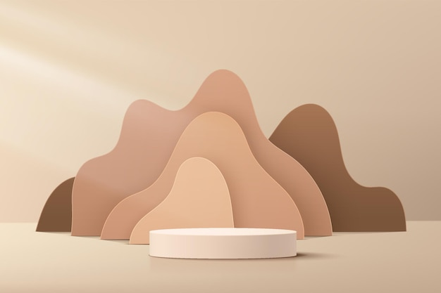 Abstract beige 3d cylinder pedestal podium with brown fluid wavy layers backdrop. light brown minimal wall scene for cosmetic product display presentation. vector geometric rendering platform design.