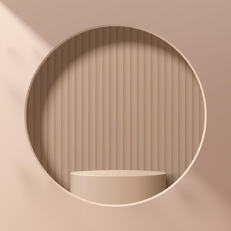 Abstract beige 3d cylinder pedestal or stand podium in circle window on the wall. light brown modern minimal scene for cosmetic product display presentation. vector geometric rendering platform design