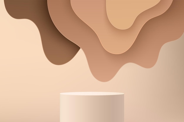 Abstract beige 3d cylinder pedestal or stand podium with brown wavy layers backdrop. light brown minimal wall scene for cosmetic product display presentation. vector geometric rendering platform.