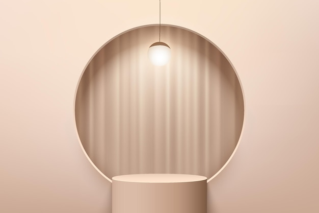 Abstract beige 3d cylinder pedestal or stand podium with curtain in circle window and hanging lamp
