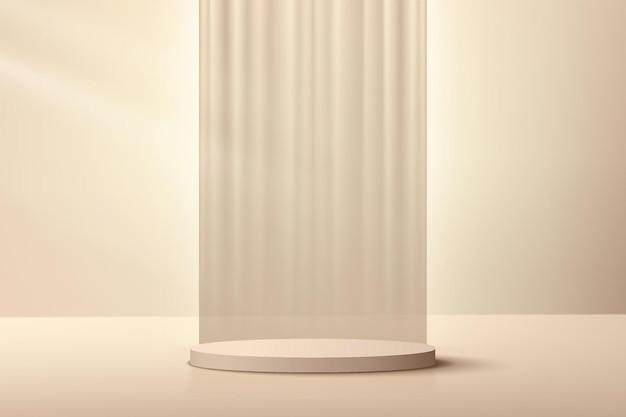 垂直の豪華なカーテンを背景にした抽象的なベージュクリーム3dシリンダー台座表彰台