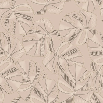 Abstract beige palette seamless pattern with monstera ornament.