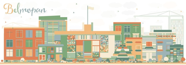 Abstract belmopan skyline with color buildings. vector illustration. business travel and tourism concept with modern architecture. image for presentation banner placard and web site.