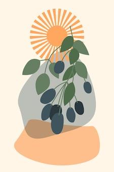 Абстрактная ветка ягодного дерева, солнце и простые формы, минималистский стиль бохо