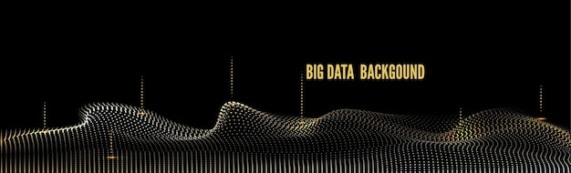 Abstract big data golden particle wave. futuristic illustration.