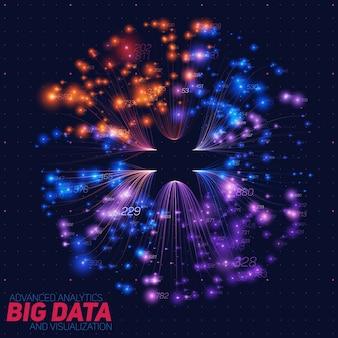 大きなデータの視覚化を抽象化します。抽象的な輝くカラフルなビーム。