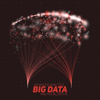 大きなデータの視覚化を抽象化します。抽象的な輝く赤いビーム。