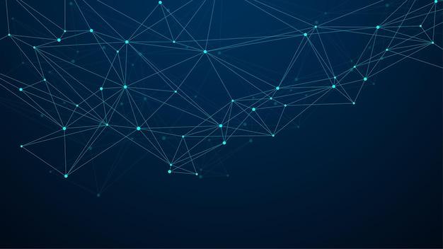 추상 빅 데이터 시각화 디지털 네트워크 연결 개념 배경입니다. 인공 지능 및 엔지니어링 기술. 글로벌 네트워크, 라인 신경총, 최소 어레이. 벡터 일러스트 레이 션.