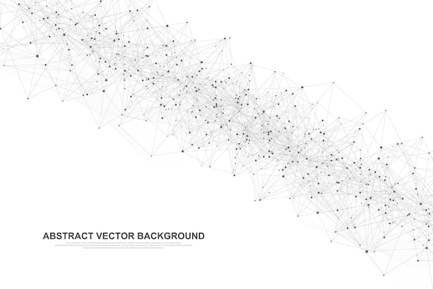 Abstract big data visualization digital network connection concept background. artificial intelligence and engineering technology. global network, lines plexus, minimal array. vector illustration.