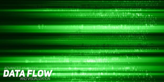 Visualizzazione astratta di big data. flusso di dati verde come stringhe di numeri. rappresentazione del codice informativo. analisi crittografica. bitcoin, trasferimento blockchain. flusso di dati codificati.