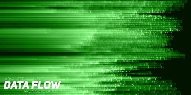 ビッグデータの視覚化を抽象化します。数字列としてのデータのグリーンフロー。情報コード表現。暗号化分析。ビットコイン、ブロックチェーン転送。エンコードされたデータの背景のストリーム