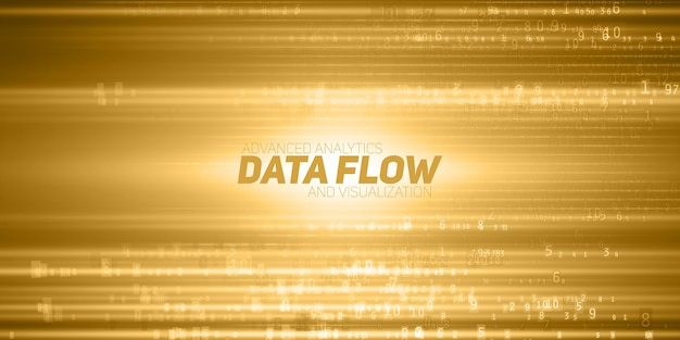 Abstract big data visualization. yellow flow of data as numbers strings. information code representation. cryptographic analysis.