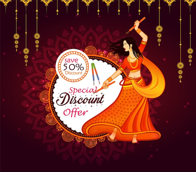 Abstract big navratri sale offer background.